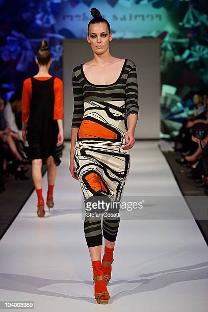 Model showcases designs by Megan Salmon during the WA Designers Collection 1 catwalk show as part of Perth Fashion Week 2010 at Fashion Paramount on...