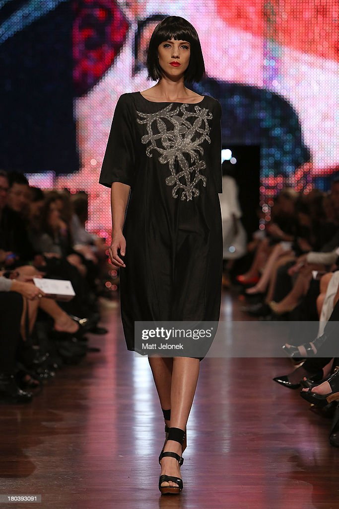 A model showcases designs by Megan Salmon on the runway during Perth Fashion Festival at the Western Australian Museum on September 12, 2013 in Perth, Australia.