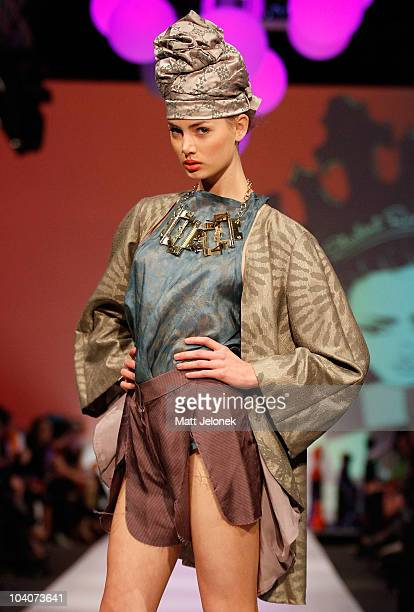 Model showcases designs by Mia Cramer during the Student Runway show as part of Perth Fashion Week 2010 at Fashion Paramount on September 13, 2010 in...