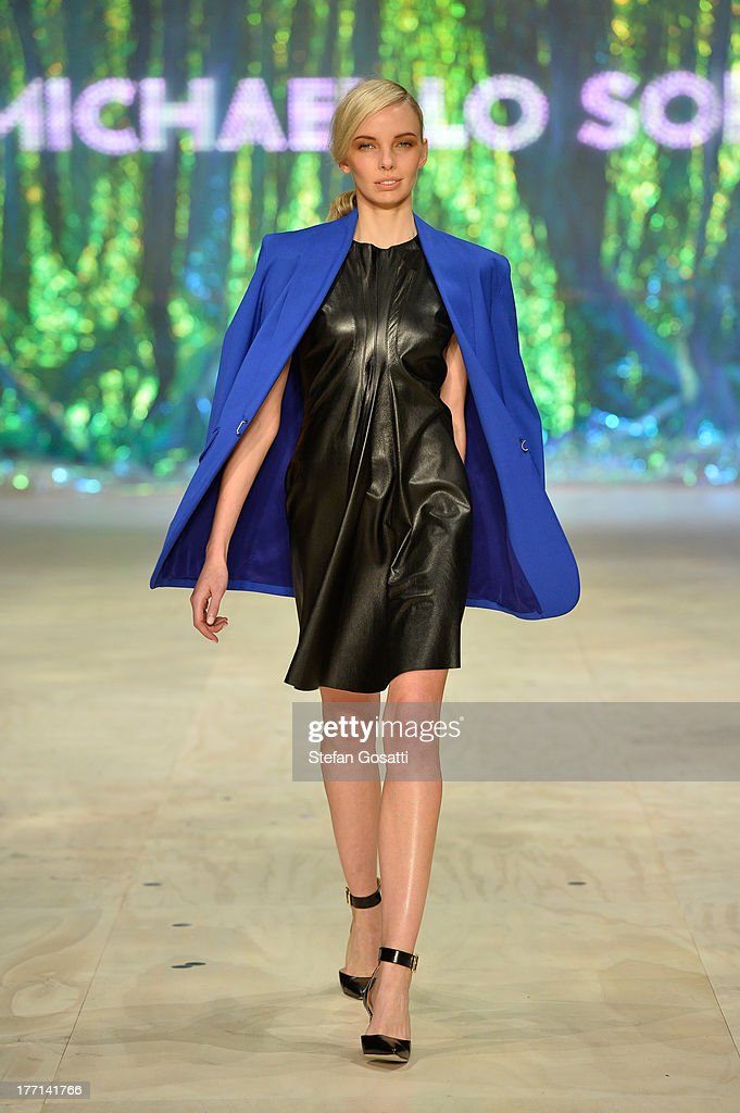 A model showcases designs by Michael Lo Sordo on the runway at the MBFWA Trends show during Mercedes-Benz Fashion Festival Sydney 2013 at Sydney Town Hall on August 21, 2013 in Sydney, Australia.