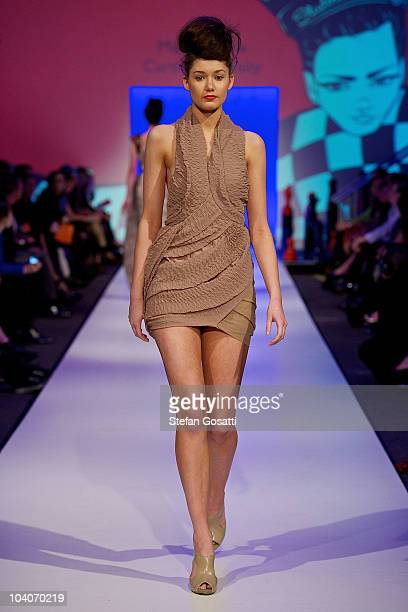 Model showcases designs by Michelle Cox during the Student Runway show as part of Perth Fashion Week 2010 at Fashion Paramount on September 13, 2010...