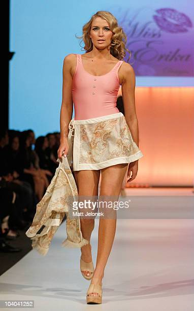 Model showcases designs by Miss Erica during the STM Swimwear collection catwalk show as part of Perth Fashion Week 2010 on September 12, 2010 in...