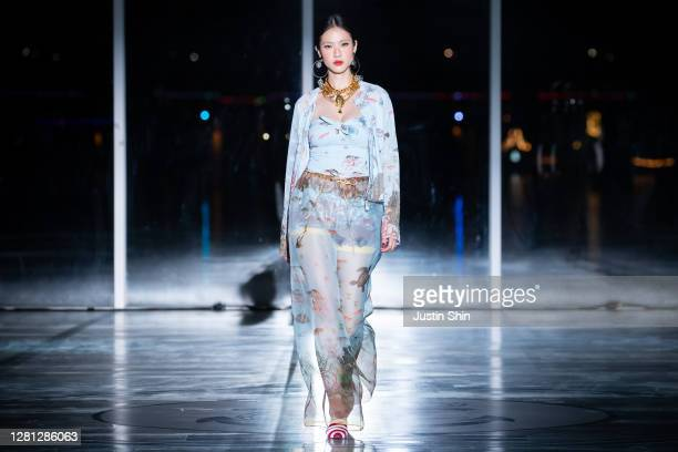 Model showcases designs by Miss Gee Collection on the runway as a part of Seoul Fashion Week 2021 SS on October 20, 2020 in Seoul, South Korea.