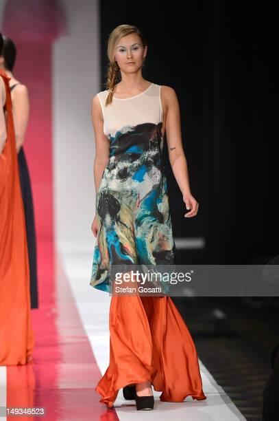 Model showcases designs by Morrison on the catwalk during StyleAID 2012 at the Burswood Entertainment Complex on July 27, 2012 in Perth, Australia.