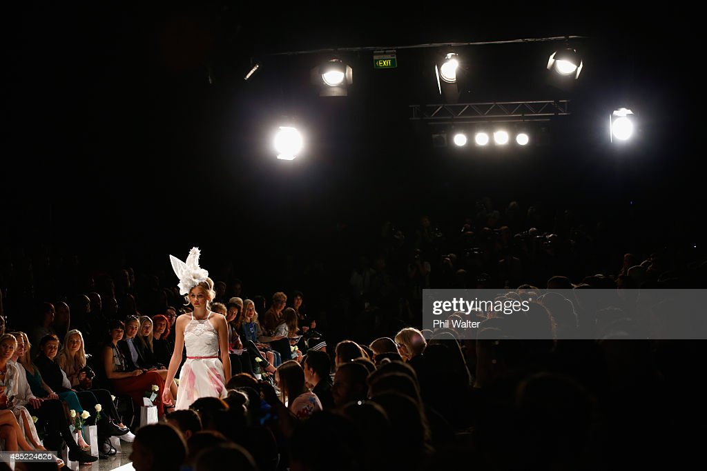 A model showcases designs by Natalie Chan by during the New Zealand Weddings Magazine Collection show at New Zealand Fashion Week 2015 on August 26, 2015 in Auckland, New Zealand.