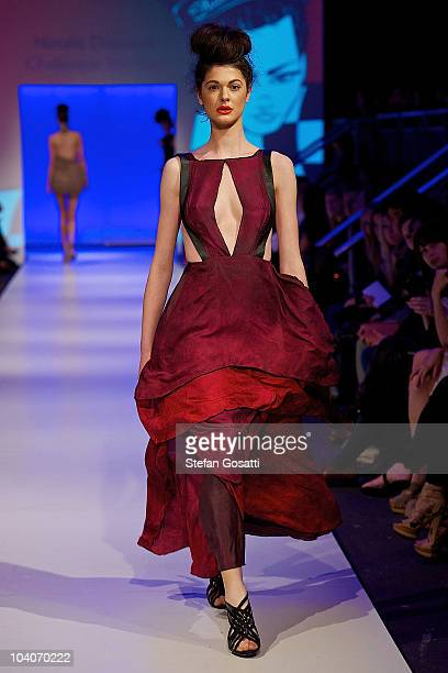 Model showcases designs by Natalie Donovan during the Student Runway show as part of Perth Fashion Week 2010 at Fashion Paramount on September 13,...