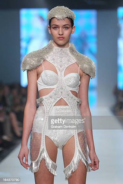 A model showcases designs by Natasha Fagg on the runway at the Sportsgirl National Graduate Showcase during day six of L'Oreal Melbourne Fashion...