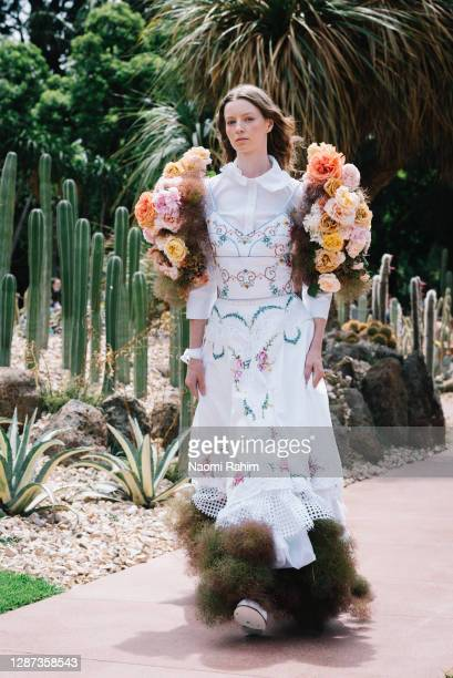 Model showcases designs by Nevenka during the Arid Garden Runway as part of Melbourne Fashion Week on November 24, 2020 in Melbourne, Australia.