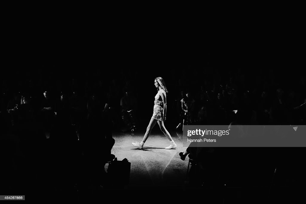 A model showcases designs by Nomsa Mabuto at New Zealand Fashion Week 2014 on August 28, 2014 in Auckland, New Zealand.