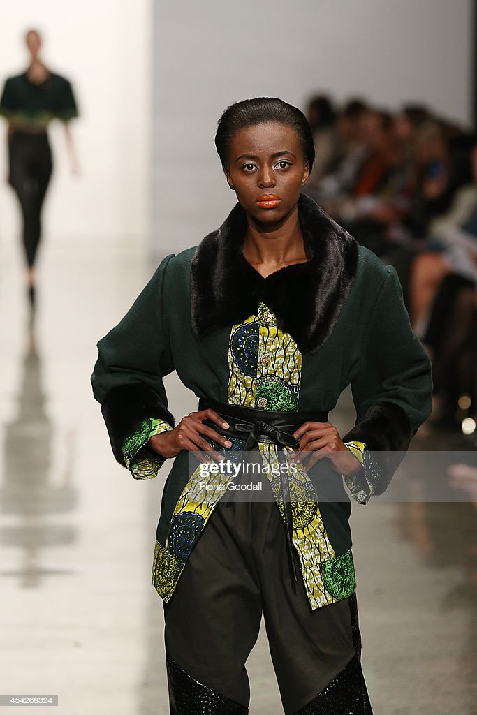 A model showcases designs by Nomsa Mabuto in the New Generation Show at New Zealand Fashion Week 2014 on August 28, 2014 in Auckland, New Zealand.