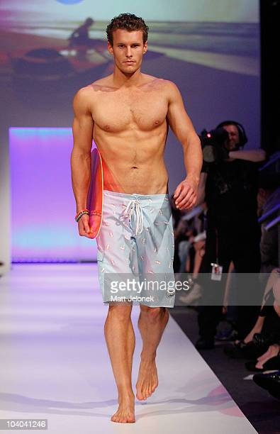 Model showcases designs by Ocean Zone during the STM Swimwear collection catwalk show as part of Perth Fashion Week 2010 on September 12, 2010 in...