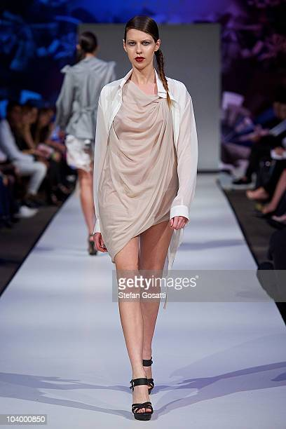 Model showcases designs by One Fell Swoop during the WA Designers Collection 2 catwalk show as part of Perth Fashion Week 2010 at Fashion Paramount...
