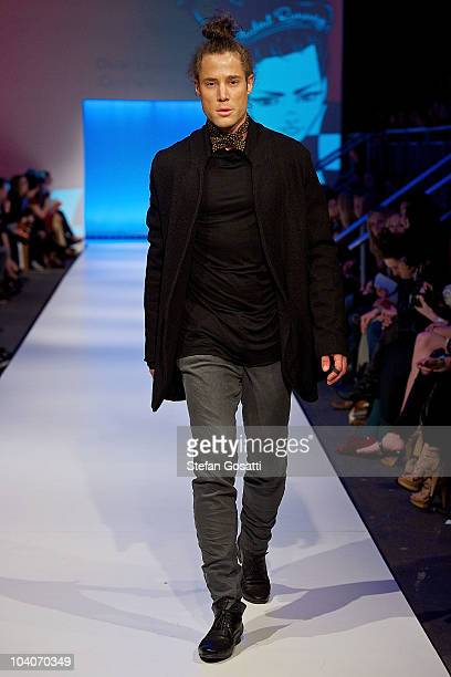 Model showcases designs by Oscar Langoulant during the Student Runway show as part of Perth Fashion Week 2010 at Fashion Paramount on September 13,...