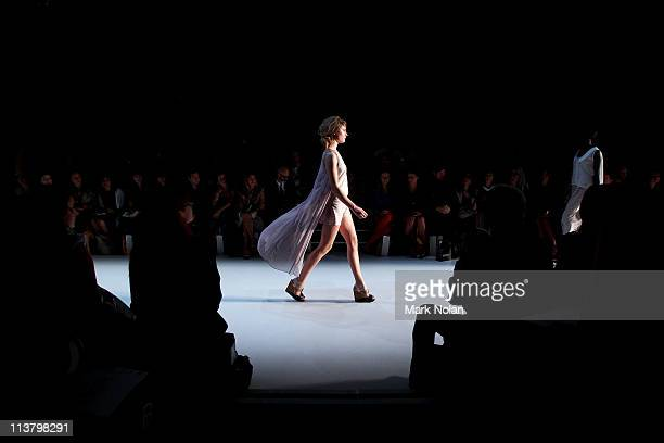 Model showcases designs by Paper Skye during the New Generation 1 catwalk during Rosemount Australian Fashion Week Spring/Summer 2011/12 at Overseas...