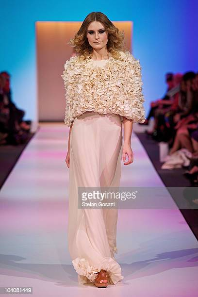 Model showcases designs by Paper Skye during the Up! The Final collection catwalk show as part of Perth Fashion Week 2010 at Fashion Paramount on...