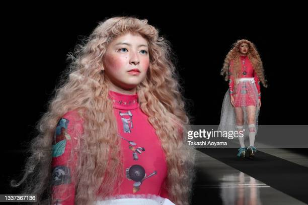 Model showcases designs by pays des fees on the runway during Rakuten Fashion Week TOKYO 2022 spring/summer at Shibuya Hikarie Hall A on August 31,...