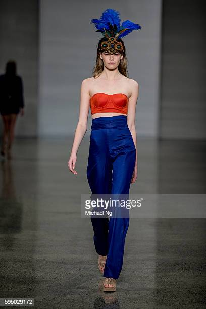 A model showcases designs by Pearly Wong on the runway during 2016 New Zealand Fashion Week on August 25 2016 in Auckland New Zealand