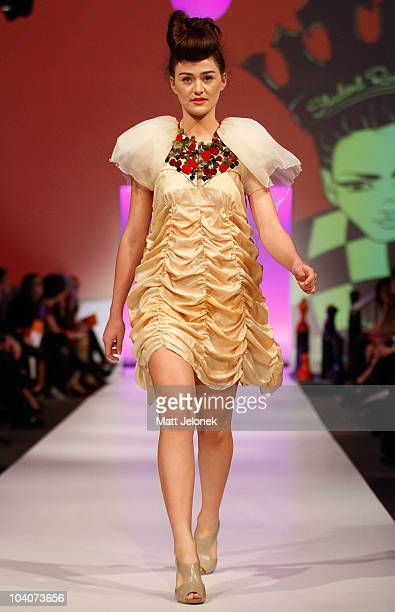 Model showcases designs by Philippa Nilant during the Student Runway show as part of Perth Fashion Week 2010 at Fashion Paramount on September 13,...