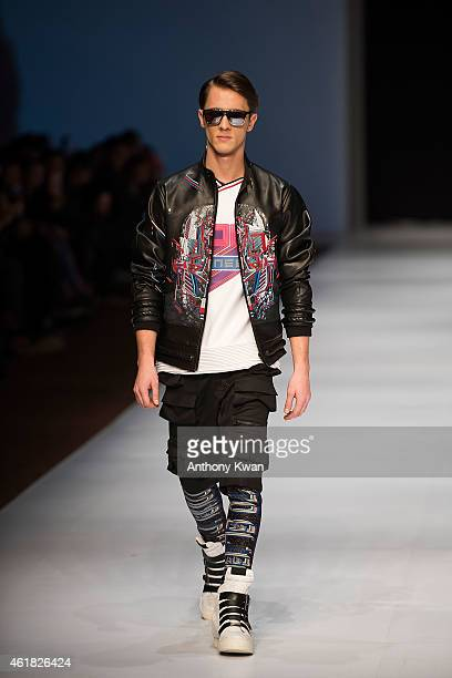 Model showcases designs by Poon Tsz Pan, Necro on the runway during the Hong Kong Young Fashion DesignersÍ Contest 2015 on day 2 of Hong Kong Fashion...