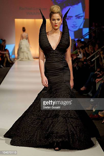 Model showcases designs by Rachael Lockyer during the Student Runway show as part of Perth Fashion Week 2010 at Fashion Paramount on September 13,...