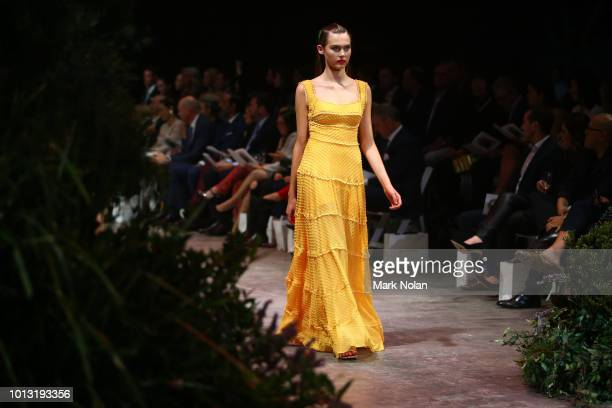 A model showcases designs by Rachel Gilbert during the David Jones Spring Summer 18 Collections Launch at Fox Studios on August 8 2018 in Sydney...
