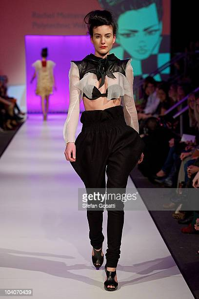 Model showcases designs by Rachel Motteram during the Student Runway show as part of Perth Fashion Week 2010 at Fashion Paramount on September 13,...