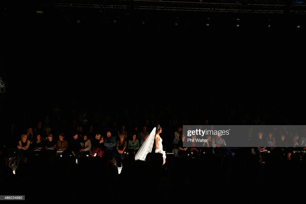 A model showcases designs by Robyn Cliffe by during the New Zealand Weddings Magazine Collection show at New Zealand Fashion Week 2015 on August 26, 2015 in Auckland, New Zealand.