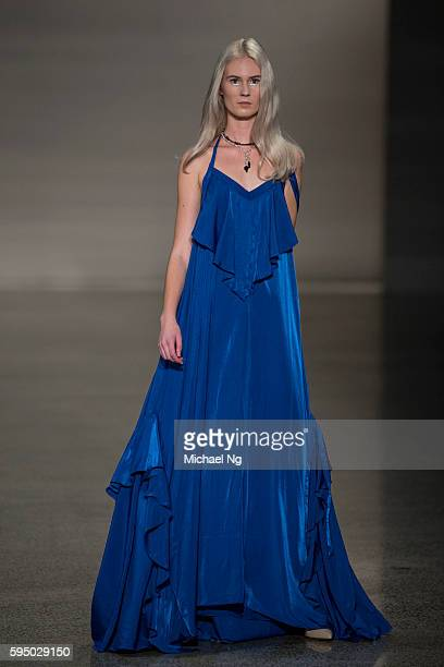 A model showcases designs by Rochelle on the runway during 2016 New Zealand Fashion Week on August 25 2016 in Auckland New Zealand