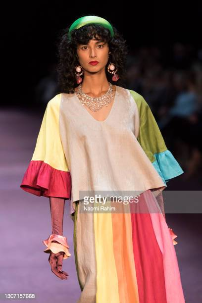 Model showcases designs by Romance Was Born during Runway 2 at Melbourne Fashion Festival at National Gallery of Victoria on March 15, 2021 in...