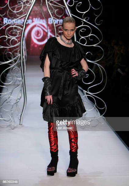 Model showcases designs by Romance was Born during the Little Black Dress show on the catwalk at the Overseas Passenger Terminal, Circular Quay on...
