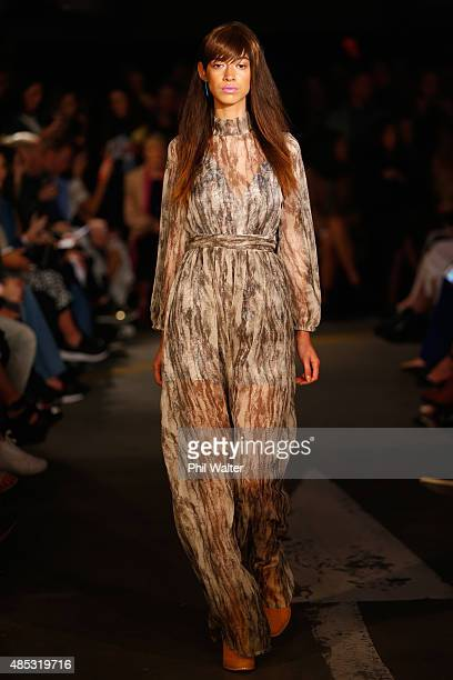 A model showcases designs by Ruby at New Zealand Fashion Week 2015 on August 27 2015 in Auckland New Zealand