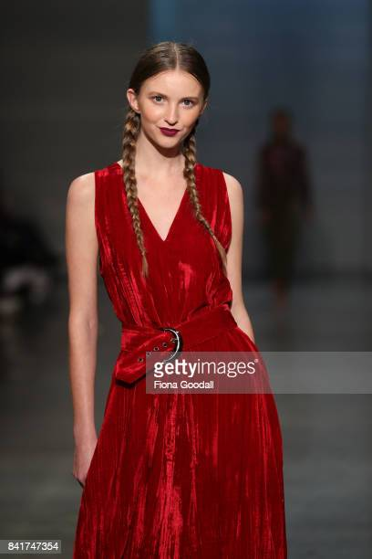 A model showcases designs by Ruby in the FQ Miss FQ on the runway at New Zealand Fashion Week 2017 on September 2 2017 in Auckland New Zealand