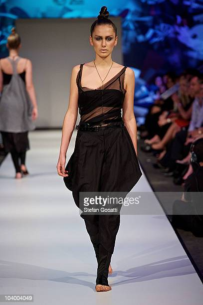 Model showcases designs by S2 during the WA Designers Collection 1 catwalk show as part of Perth Fashion Week 2010 at Fashion Paramount on September...