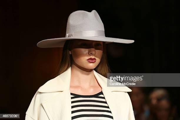 A model showcases designs by Sabatini at the David Jones A/W 2014 Collection Launch at the David Jones Elizabeth Street Store on January 29 2014 in...