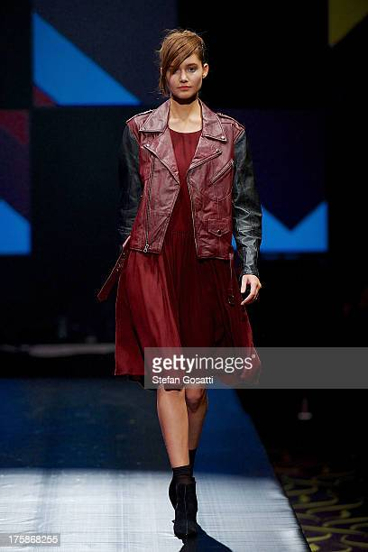 A model showcases designs by Salasai on the catwalk during StyleAID 2013 at Crown Perth on August 9 2013 in Perth Australia