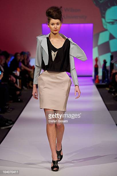 Model showcases designs by Sally Wilson during the Student Runway show as part of Perth Fashion Week 2010 at Fashion Paramount on September 13, 2010...