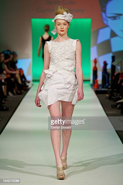 Model showcases designs by Sarah Cole during the Student Runway show as part of Perth Fashion Week 2010 at Fashion Paramount on September 13, 2010 in...