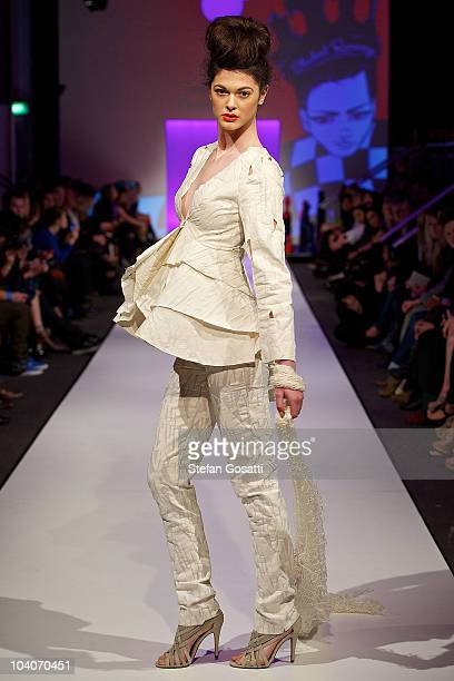 Model showcases designs by Shelly Tindale during the Student Runway show as part of Perth Fashion Week 2010 at Fashion Paramount on September 13,...