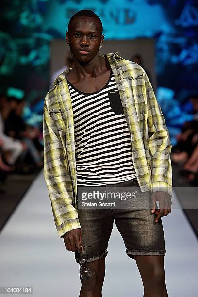 Model showcases designs by Stand during the WA Designers Collection 1 catwalk show as part of Perth Fashion Week 2010 at Fashion Paramount on...