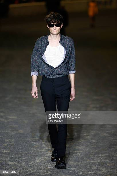 A model showcases designs by Stolen Girlfriends Club at Western Springs Stadium at New Zealand Fashion Week 2014 on August 26 2014 in Auckland New...