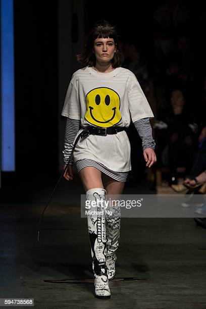 A model showcases designs by Stolen Girlfriends Club on the runway during 2016 New Zealand Fashion Week on August 24 2016 in Auckland New Zealand