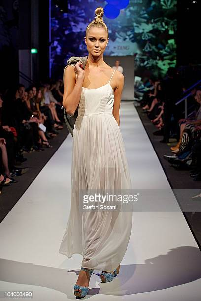 Model showcases designs by Story by Tang during the WA Designers Collection 1 catwalk show as part of Perth Fashion Week 2010 at Fashion Paramount on...