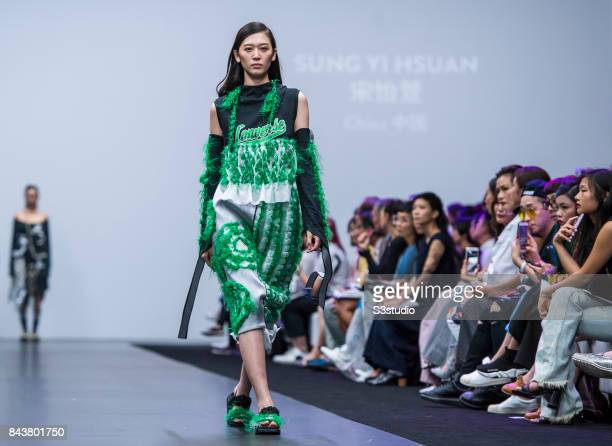 A model showcases designs by Sung Yi Hsuan on the runway during the Redress The EcoChic Design Award 2017 Grand Final Fashion Show on the Day 2 of...