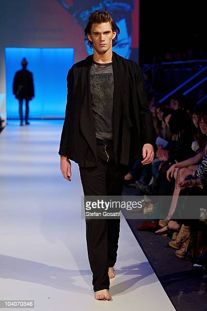 Model showcases designs by Susan Brannigan during the Student Runway show as part of Perth Fashion Week 2010 at Fashion Paramount on September 13,...