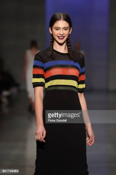 A model showcases designs by Sylvester in the FQ Miss FQ on the runway at New Zealand Fashion Week 2017 on September 2 2017 in Auckland New Zealand