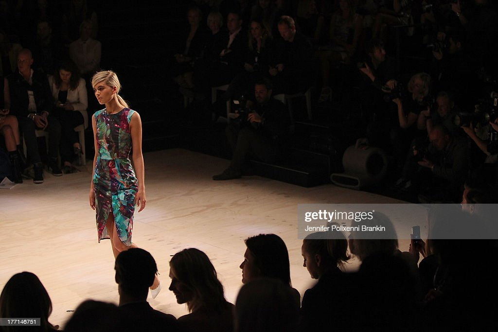 A model showcases designs by Talulah on the runway at the MBFWA Trends show during Mercedes-Benz Fashion Festival Sydney 2013 at Sydney Town Hall on August 21, 2013 in Sydney, Australia.