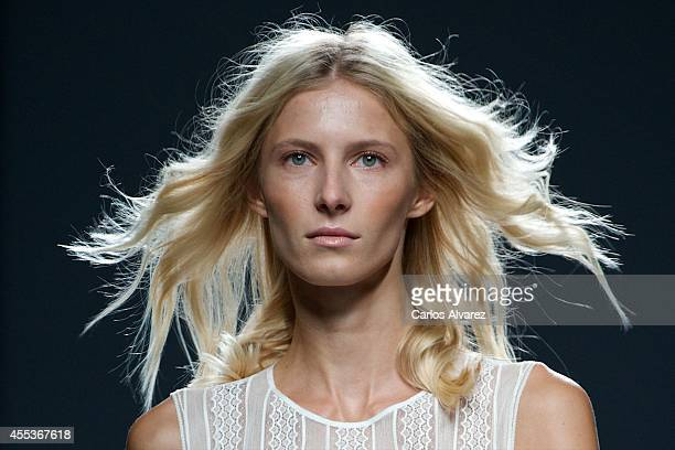 A model showcases designs by Teresa Helbig on the runway at Teresa Helbig fashion show during Mercedes Benz Fashion Week Madrid Spring/Summer 2015 at...
