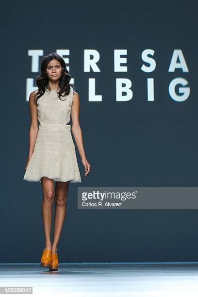 A model showcases designs by Teresa Helbig on the runway at Teresa Helbig show during Mercedes Benz Fashion Week Madrid Spring/Summer 2015 at Ifema...