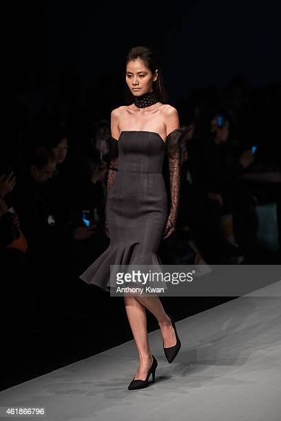 A model showcases designs by the Patrick on the runway during the Brand Collection Show on day 3 of Hong Kong Fashion Week Fall/Winter 2015 at the...