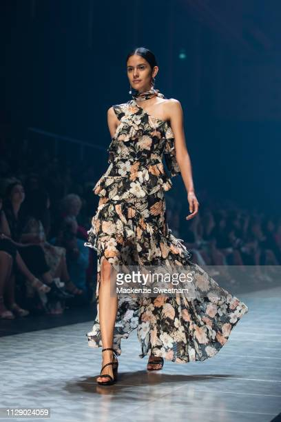 A model showcases designs by Thurley at Melbourne Fashion Festival on March 7 2019 in Melbourne Australia